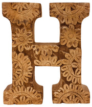 Hand Carved Wooden Flower Letter - A to Z