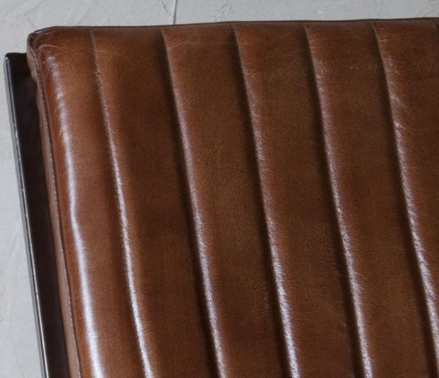 Narwana Ribbed Leather Lounger & Footstool