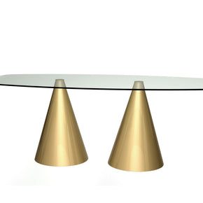 Cone Base Dining Table with Large Rectangular Top