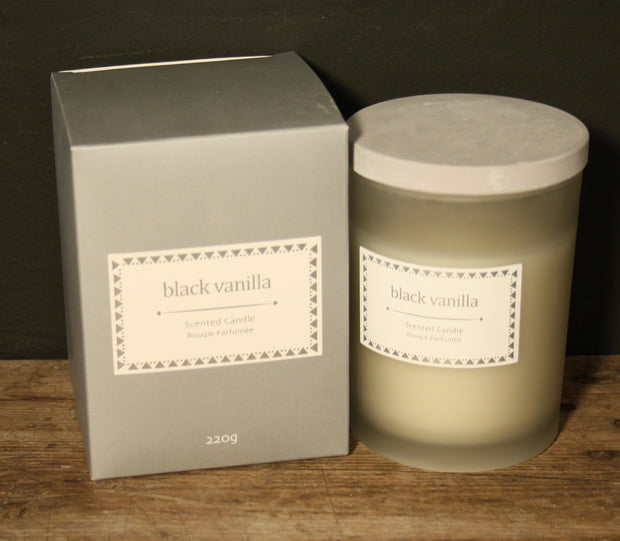 Glass Candle W/Lid In Dark Grey Gift Box - Black Vanilla