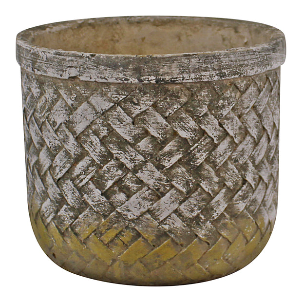 Weave Effect Cement Pot, Small, 16cm diameter