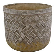 Weave Effect Cement Pot, Large, 23cm diameter