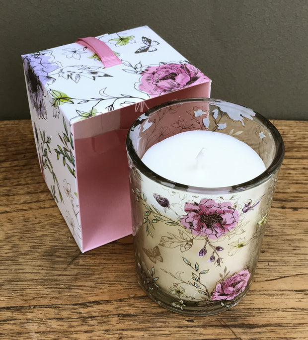 Floral Scented Candle Pot In Blue Gift Box- Chamomile Blush