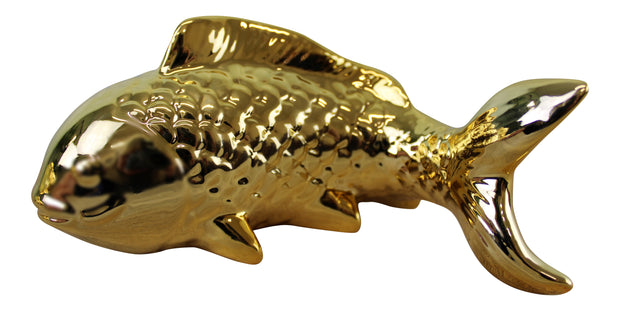 Ceramic Wall Hanging Trio of Koi Fish in Gold Finish