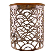 Decorative Silver Metal Side Table With A Wooden Top