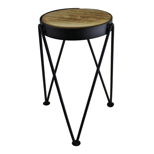Set of 3 Black Metal and Wood Effect Plant Stands