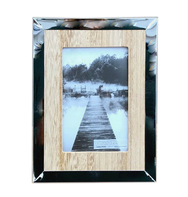 "Wood And Silver Coloured Photo Frame 4"" X 6"""