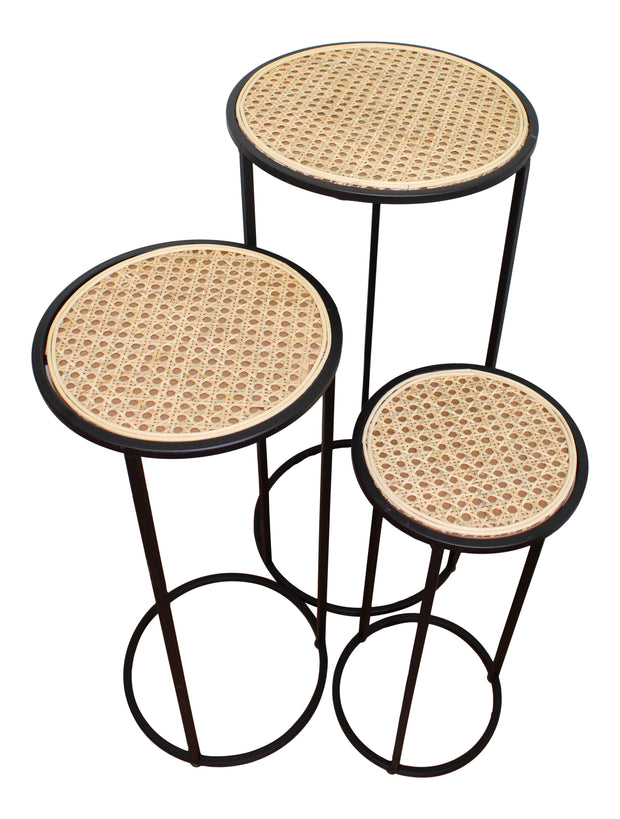 Set of 3 Tall, Weave Effect Side Tables