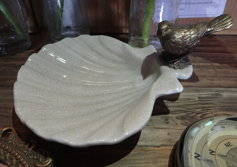 Crackle Shell Dish with Brass Bird - Allissias Attic  &  Vintage French Style - 2
