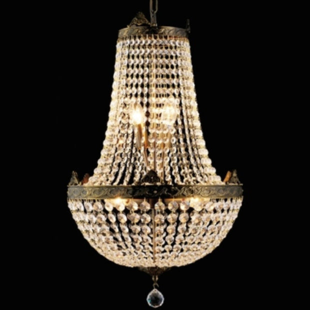Vintage Basket Chandelier - Antique Brass Finish - Allissias Attic  &  Vintage French Style - 1