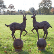 Pair of Deer on Ball Garden Ornaments - Allissias Attic  &  Vintage French Style - 1