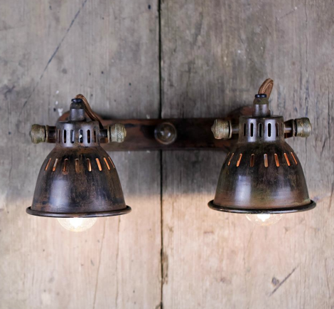 Brass Vintage Style Double Spotlight - Allissias Attic  &  Vintage French Style - 1
