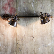 Brass Vintage Style Double Spotlight with Sliding Bracket - Allissias Attic  &  Vintage French Style - 1