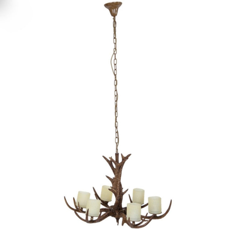 Antler Chandelier with Candle Like Shades - Allissias Attic  &  Vintage French Style