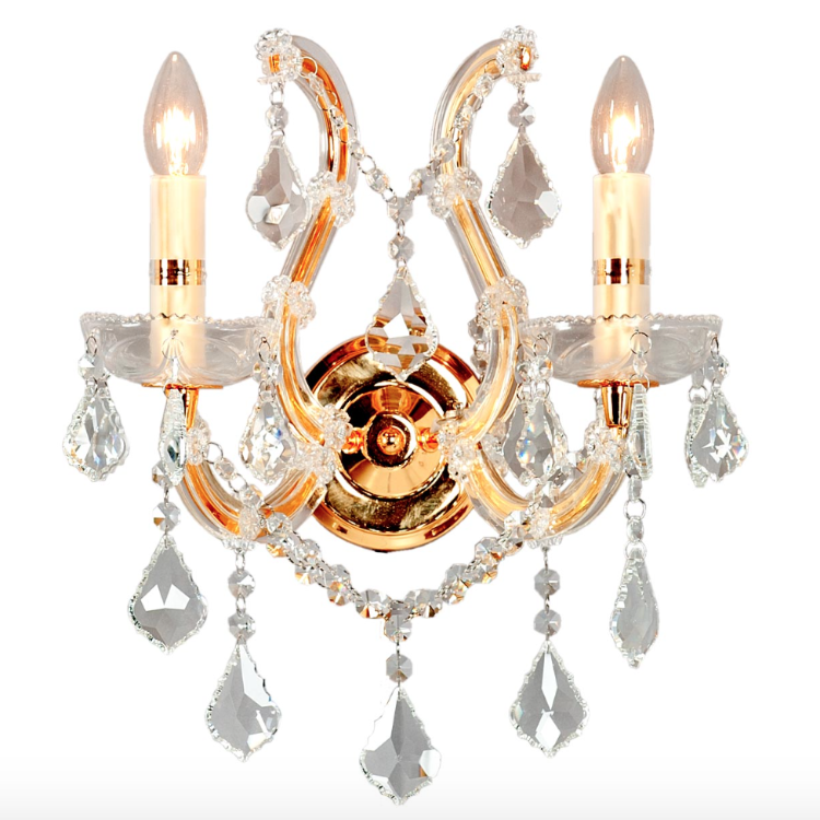 Crystal Two Light Wall Sconce - Gold Finish - Allissias Attic  &  Vintage French Style