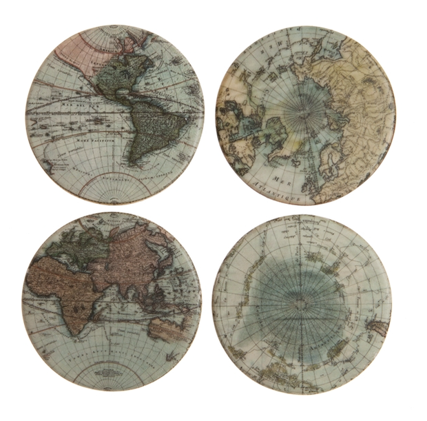 Set of 4 Map Coasters - Allissias Attic  &  Vintage French Style
