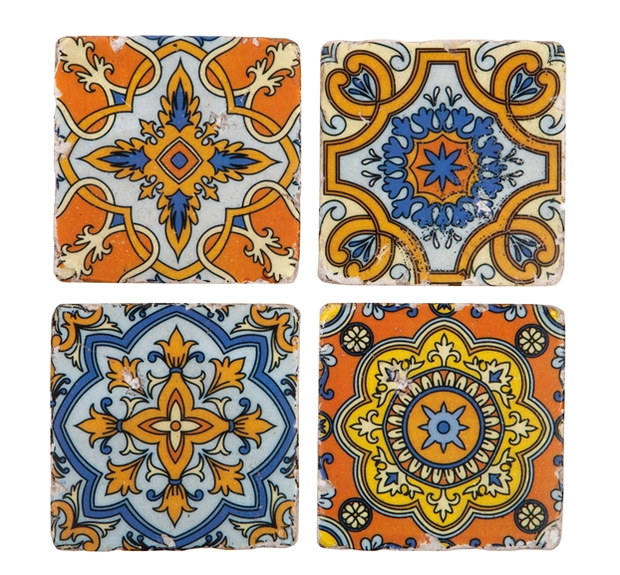 Set of 4 Victorian Tile Coasters - Allissias Attic  &  Vintage French Style