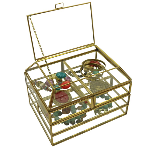 Orangery Glass & Brass Jewellery Box & Trays - Allissias Attic  &  Vintage French Style - 2