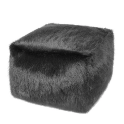 Faux Fur Cube - Charcoal - Allissias Attic  &  Vintage French Style
