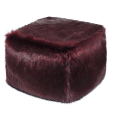 Faux Fur Cube - Burgundy - Allissias Attic  &  Vintage French Style