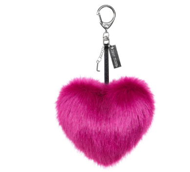 Faux Fur Heart Keyring - Magenta - Allissias Attic  &  Vintage French Style