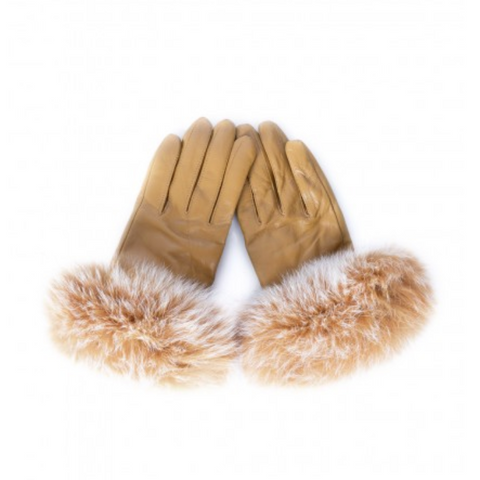 Orange Fur Cuffed Gloves - Allissias Attic  &  Vintage French Style