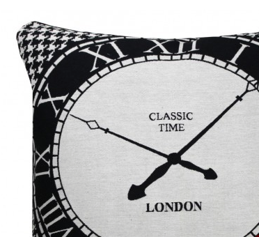 London Vintage Clock Cushion