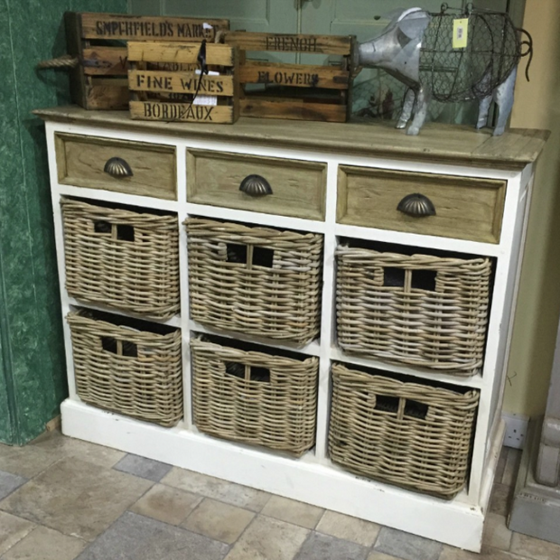 Victorian Styled Basket & Drawer Sideboard