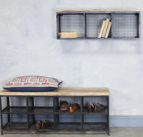 Industrial Timber Seat Storage Bench or Wall Shelf