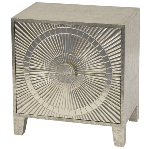 Coco Silver Embossed Metal 2 Drawer Bedside Table