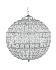 Round Crystal Effect & Silver Chandelier -  Large