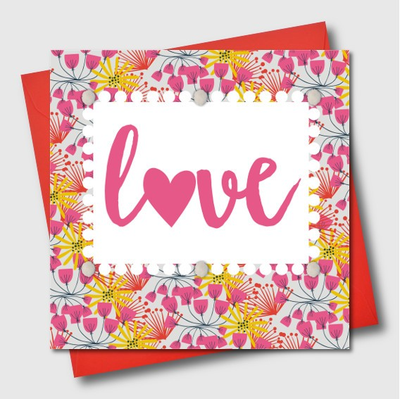 Designer Pom Pom Gift Card - LOVE Cards