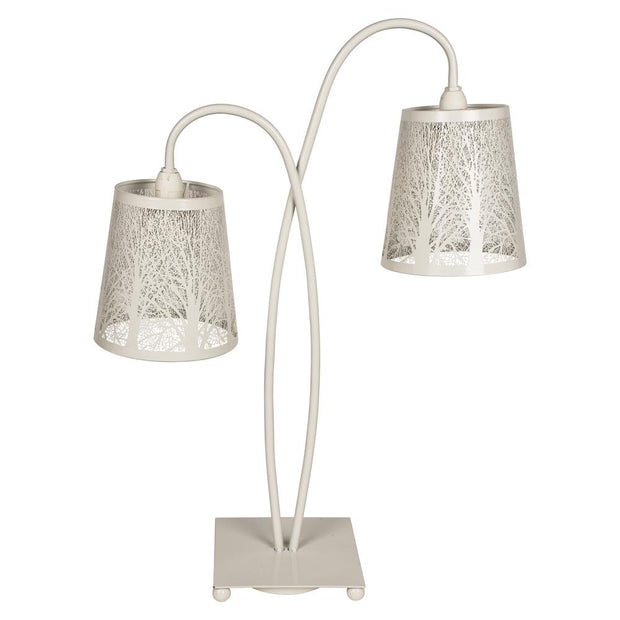 White 2 Light Leaf Cutout Table Lamp