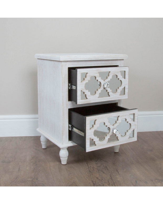 Mirrored & Wood Moroccan Style 2 Drawer Cabinet