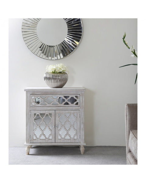 Mirrored & Wood Moroccan  1 Drawer and 2 Door Cabinet