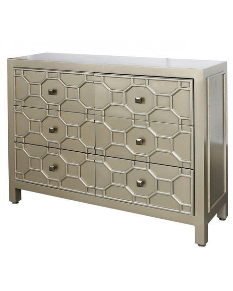 Ritzy Gold Geometric Wood 6 Drawer Cabinet