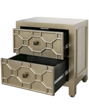 Ritzy Gold Geometric Wood 2 Drawer Cabinet