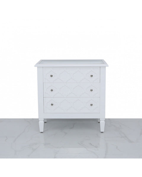 White Wood with Quatrefoil Design 3 Drawer Cabinet