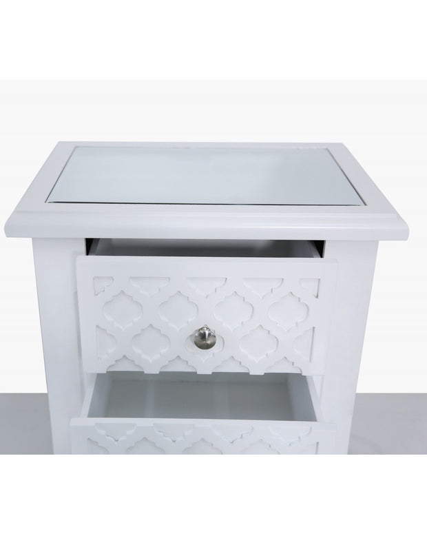 White Wood with Quatrefoil Design 2 Drawer Bedside