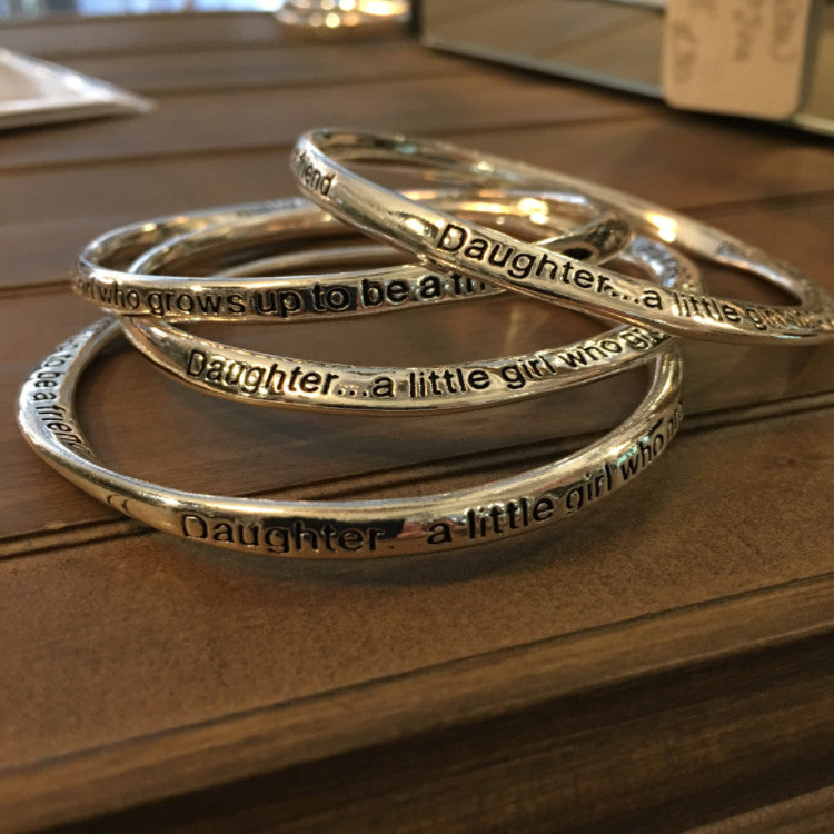 Daughter,  a Little Girl who grows up to be a Friend Bangles - Allissias Attic  &  Vintage French Style