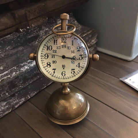 Lovely Brass Petit Desk Clock on Stand - Allissias Attic  &  Vintage French Style - 1