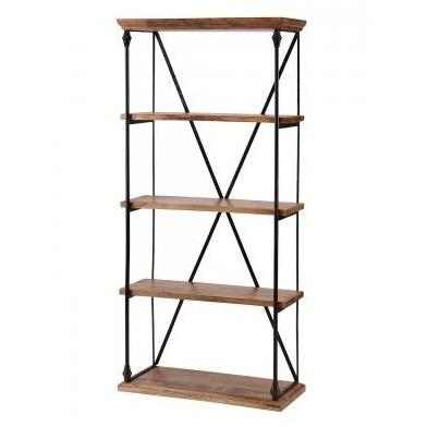 Industrial Inspired Iron And Recycled Wood Bookcase With Cross Strut Detail.