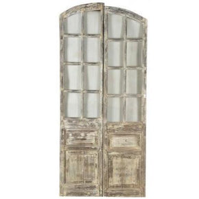 Antique Wood Door Pair with Panelling Detail
