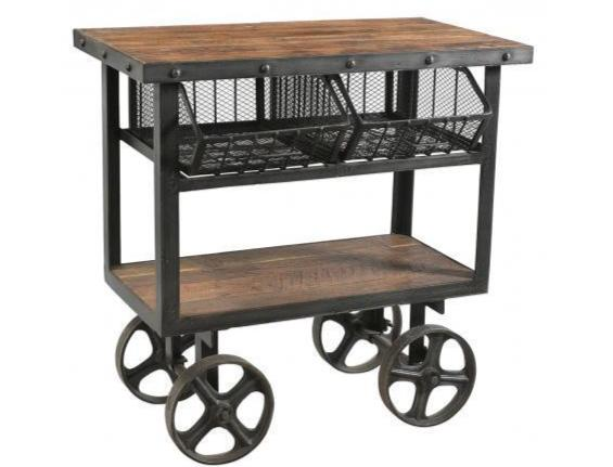 Iron & Reclaimed Timber Trolley - 2 Baskets
