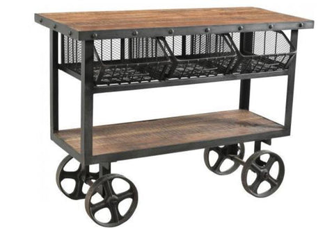 Iron & Reclaimed Timber Trolley - 3 Baskets