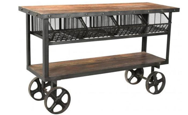Iron & Reclaimed Timber Trolley - 4 Baskets
