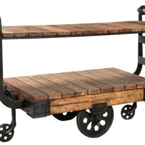 Antique Iron Display Trolley with Wheels and Handy Shelf