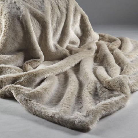 Katrina Hampton Faux Fur Throw - Beige Frost