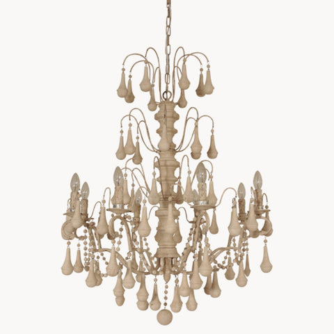 Brockton Ornate Antique Iron & Wood Chandelier - Allissias Attic  &  Vintage French Style - 1