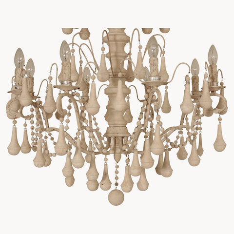 Brockton Ornate Antique Iron & Wood Chandelier - Allissias Attic  &  Vintage French Style - 2